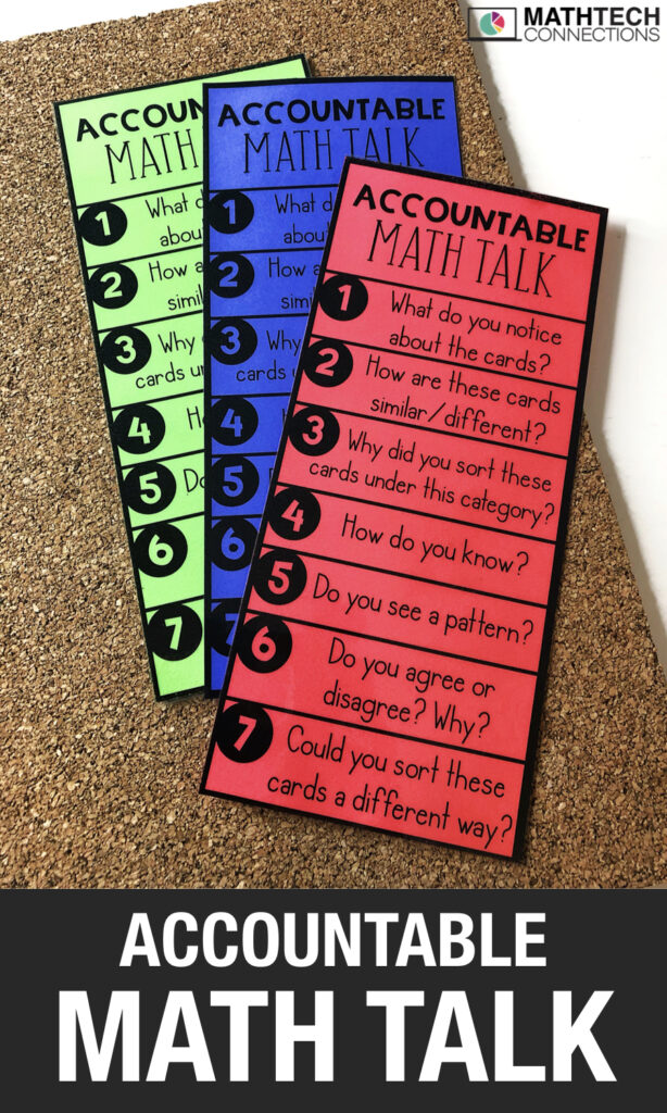 Accountable Talk during Math Sorts - Use this free printable book mark or create a math talk bulletin board to encourage students to explain their thinking as they complete math sorts. Download a free sample of math sorting activities.