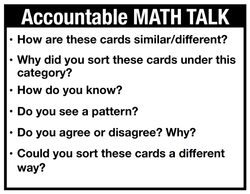 Math Talk during Math Sorting Activities - Post of Math Questions to get students to explain their thinking. Download FREE samples of math sorts