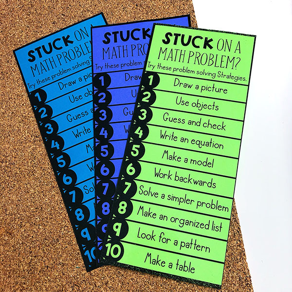 Problem Solving Strategies for Upper Elementary Math Students. Free problem solving strategies printable and bookmark.