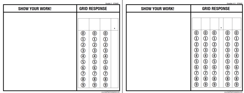 Griddable Questions for STAAR Grades 3-5 Free Printable to Practice