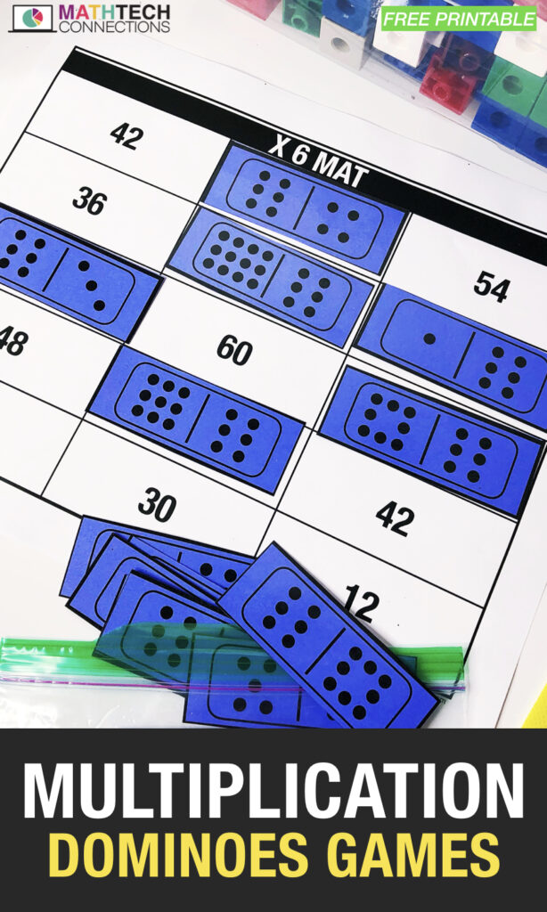 Multiplication Dominoes Games - Free Printable to Practice Math Facts and subitizing