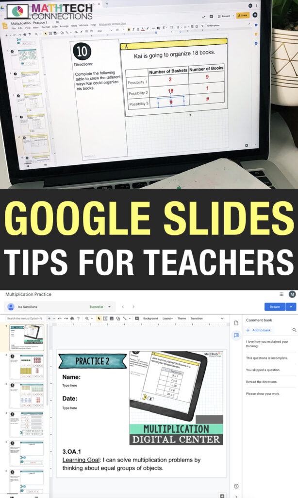 Google Slides tips for teachers - using google forms in the elementary classroom. Video tutorials on how to create google slides, assign on google classroom, and grade. Learn how to save time using the comment bank feature.
