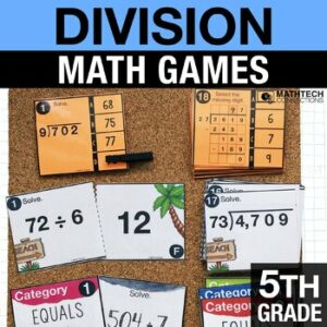 4th grade math games for math workshop - division activities