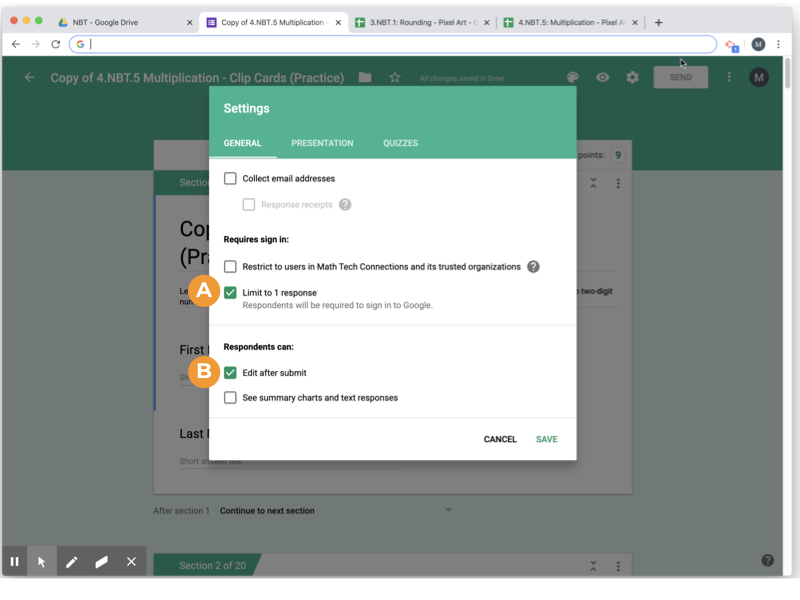 Google Forms Settings - How to Require Only One Student Response