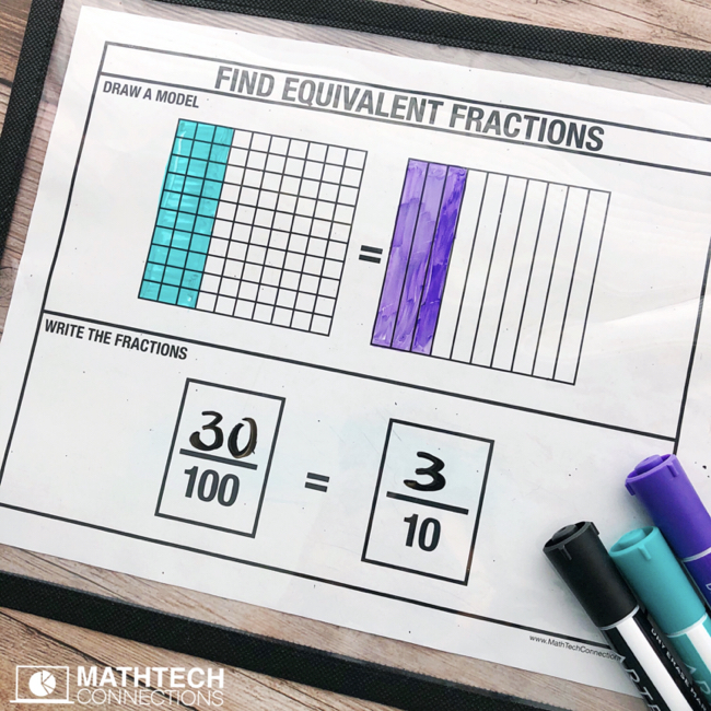 Equivalent Fractions with denominators 10 or 100. Free printable for guided math group lesson.