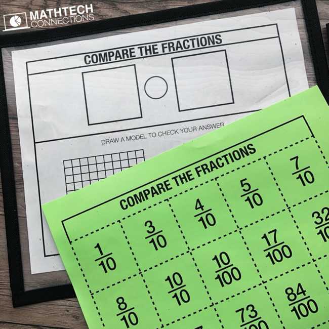 Free comparing fractions with denominators of 10 and 100. Guided math group lesson for 4th or 5th grade.