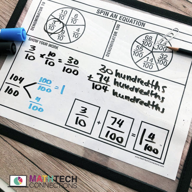 Free adding fractions with denominators 10 and 100. Free fractions activity to complete during guided math groups. For 4th and 5th grade students.