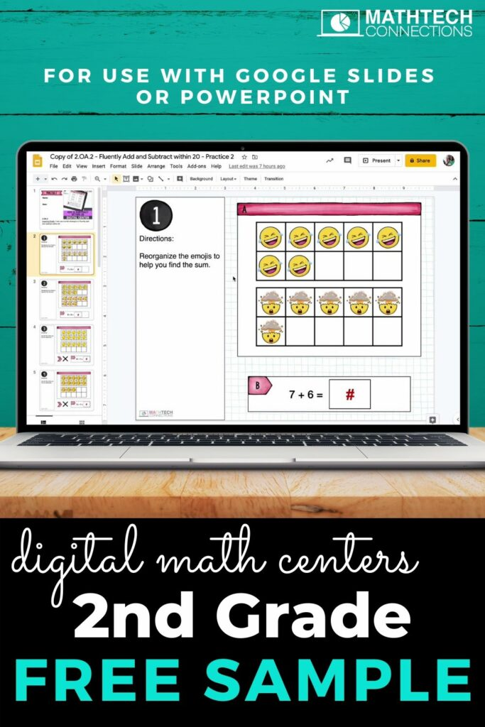 FREE second grade Google Slides for use with Google Classroom. Try the free sample of interactive digital math slides.