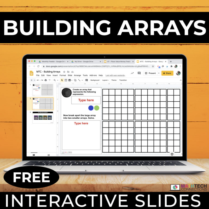 Free building arrays interactive math slides for google forms. Free digital math manipulatives for learning multiplication 3rd grade