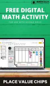 Free digital math activity that uses place value chips