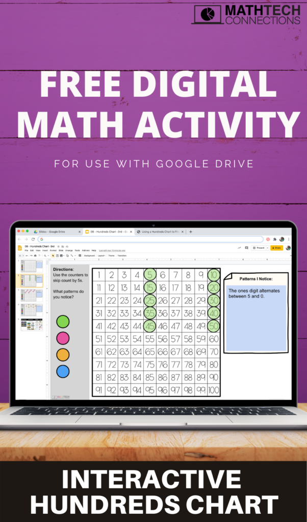 Free 3rd grade google slides to review patterns in multiplication facts. Use the interactive counters to highlight numbers as you skip count and look for arithmetic patterns.