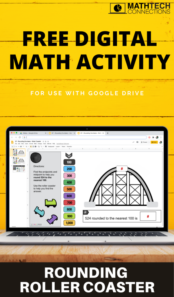Free google slides to review rounding whole numbers. Use the digital rounding roller coaster activity as a visual. A road and car are also included to help students visual rounding numbers. Both activities include an editable version so you can use with decimals.