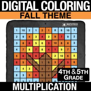 FALL Math Digital Multiplication Practice - Distance Learning Multiplication Practice for 4th and 5th Grade