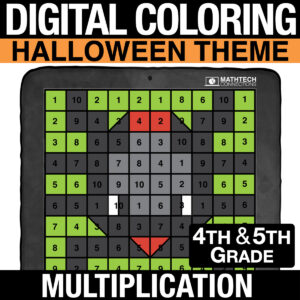 Halloween Math Digital Mult-Digit Multiplication Practice - Distance Learning Multiplication Practice for 4th and 5th Grade