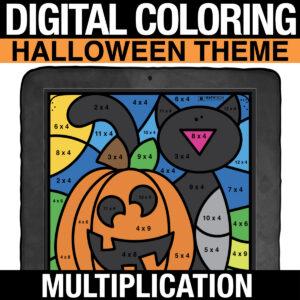 Halloween Math Digital Multiplication Practice - Distance Learning Multiplication Practice for 3rd Grade