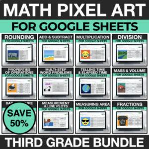 3rd Grade Math Pixel Art for Google Sheets