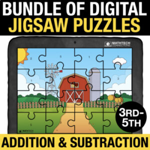 Digital Jigsaw puzzles to practice addition and subtraction facts. 3rd, 4th, and 5th grade basic facts practice