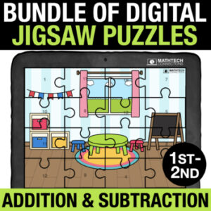 Digital Jigsaw puzzles to practice addition and subtraction facts. 1st and 2nd grade basic facts practice