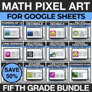 5th Grade Math Pixel Art for Google Sheets