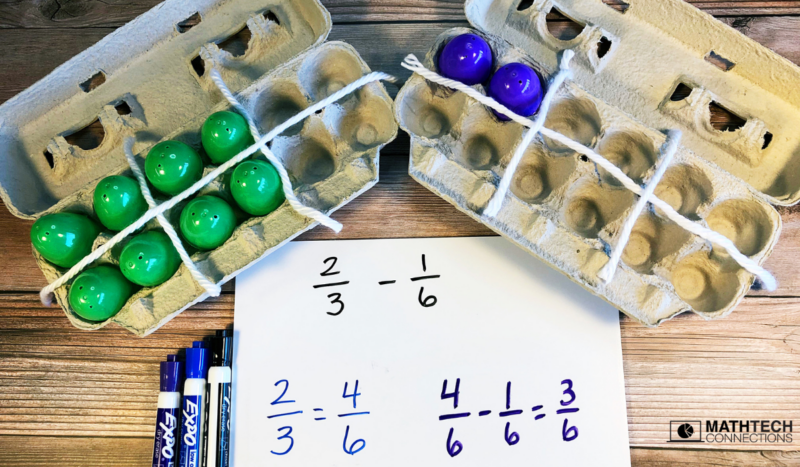 fun and hands-on activities to teach adding and subtracting fractions with different denominators. Use egg cartons as a fun hands-on activity to practice adding and subtracting fractions