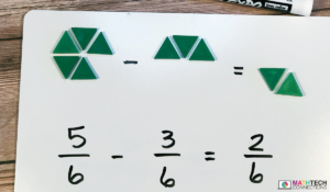 Use pattern blocks to subtract fractions with like denominators