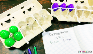 Use egg cartons to compare fractions with 3rd, 4th, and 5th graders