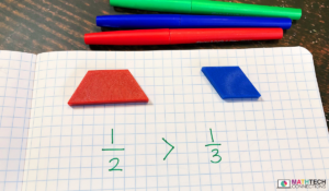 Use pattern blocks to compare fractions in third grade. Example ways to compare fractions using math manipulatives