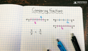 Use number lines to compare fractions in third grade. Example ways to compare fractions using math manipulatives