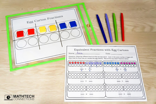 egg carton fractions ideas and freebies for teaching equivalent fractions