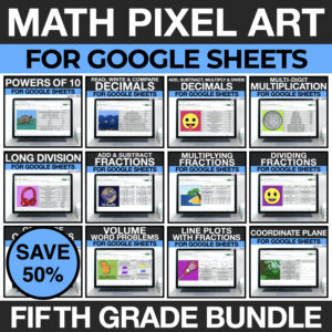 5th grade digital math pixel art activities for google sheets - mystery picture