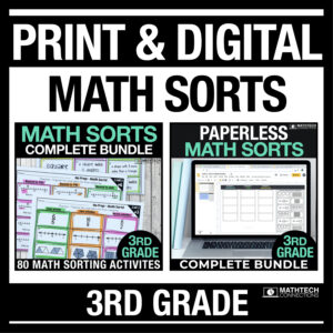 Digital and Printable Math Activities for Math Journals or Math Warm ups (third, fourth, and fifth grade math bundles)