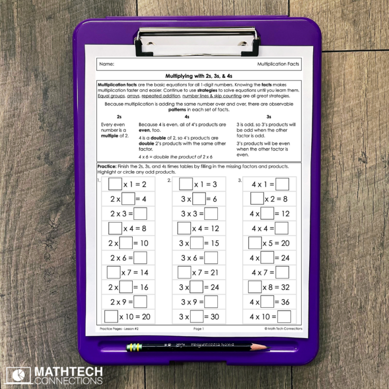 Multiplication Patterns Worksheets and Activities, Practice multiplication facts, 3rd grade guided math mini-lessons and task cards
