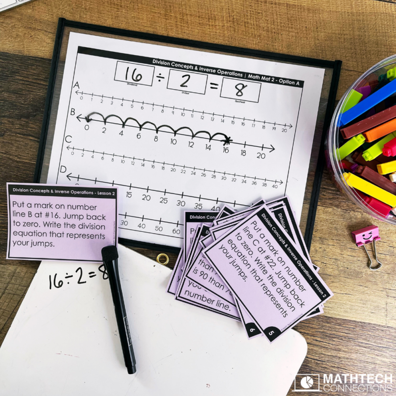Guided Math lessons for teaching division in third grade. Hands on math lessons to use with small group or digital math activities included for digital guided math.
