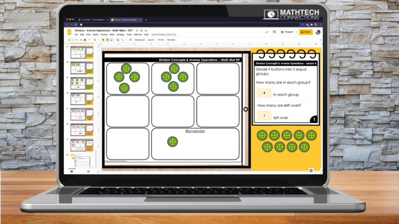 Digital Math Games for teaching division, third grade digital math mats for introducing division to third graders