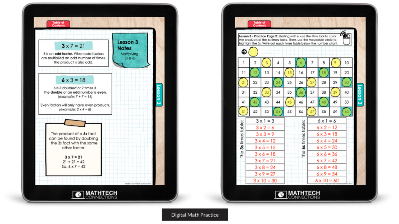 Digital Math Practice Notebook, Interactive digital math worksheets, practice multiplication facts and patterns 3rd grade
