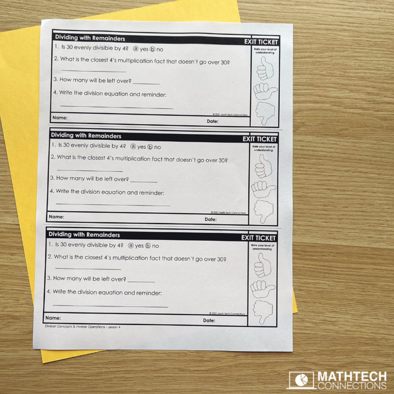 Division with Remainders math mini-lesson, hands-on activity and task cards, practice pages, and exit ticket. Teacher division with remainders with this complete mini-unit.