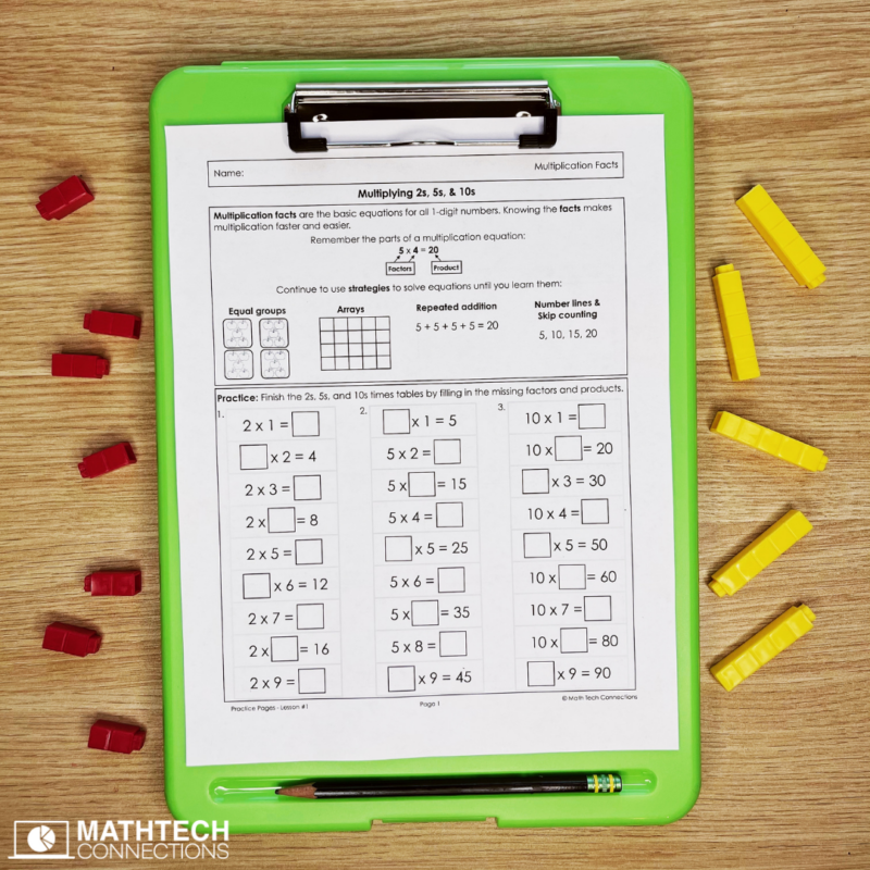 Third Grade Multiplication Facts Practice - Lessons for guided math, practice pages for math facts, guided math mini-lessons for third grade multiplication