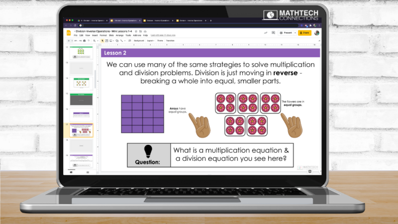Digital Math Mini-Lessons to introduce division concepts in third grade. Editable text. Start your math block with these editable and interactive math lessons