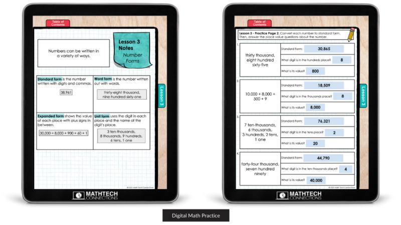 Digital Math Practice Pages