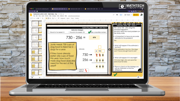 Addition and Subtraction 3rd grade math unit. Editable mini-lessons and guided math mats. This third grade math unit includes practice pages, exit tickets, and quizzes.