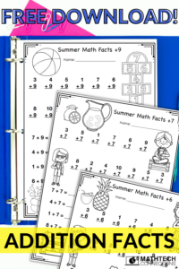 FREE summer addition facts coloring pages - free addition coloring pages for summer practice