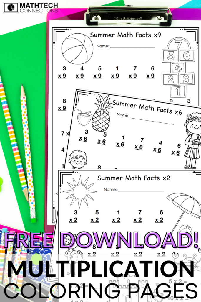 FREE summer multiplication facts coloring pages - free multiplication coloring pages for summer practice