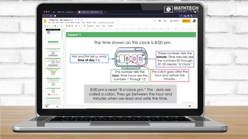 Telling Time 3rd Grade Guided Math Lessons - PowerPoint Teacher led lesson
