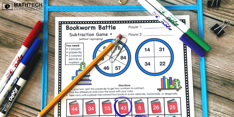 4th Grade Back to School Math Activities - Subtraction Game August Math Centers