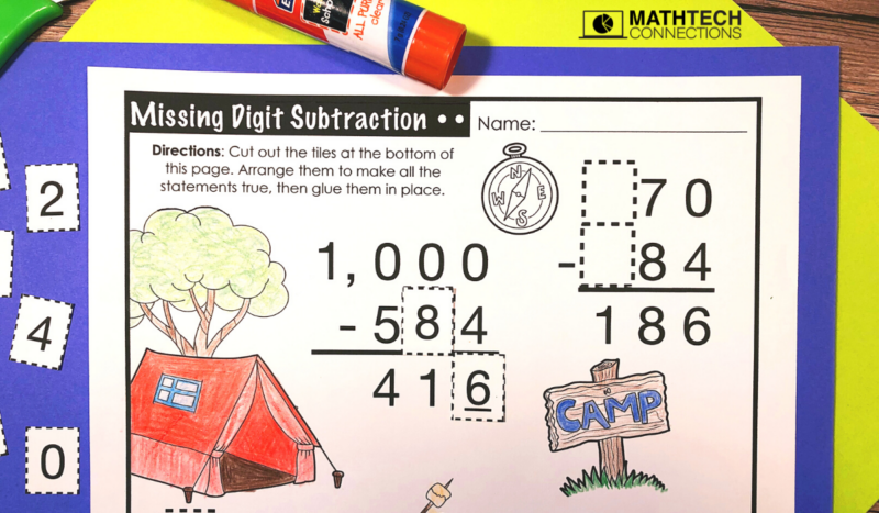 4th Grade Back to School Math Activities - Missing Digit Subtraction August Math Centers