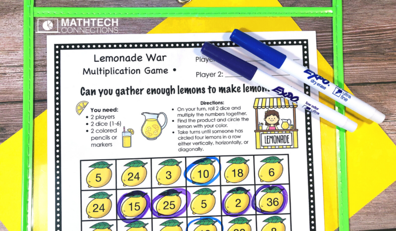 4th Grade Back to School Math Activities - Multiplication Game August Math Centers