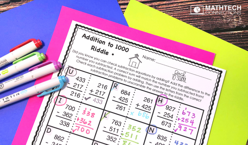 4th Grade Back to School Math Activities - Addition Riddle August Math Centers