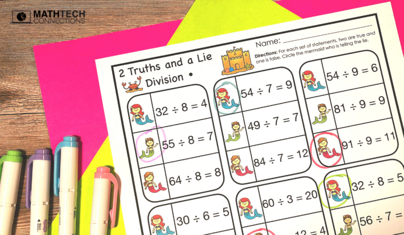 two truths and a lie math activity 4th grade