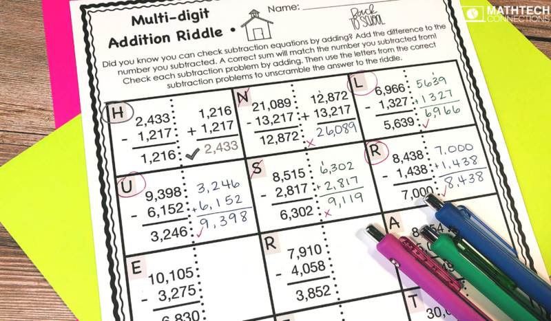 5th Grade Back to School Math Activities - Multi-Digit Addition Riddle August Math Centers