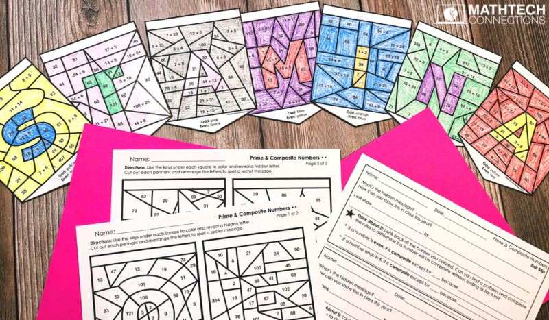 5th Grade Back to School Math Activities - Coloring Banner Activity - Open House Decorations August Math Centers